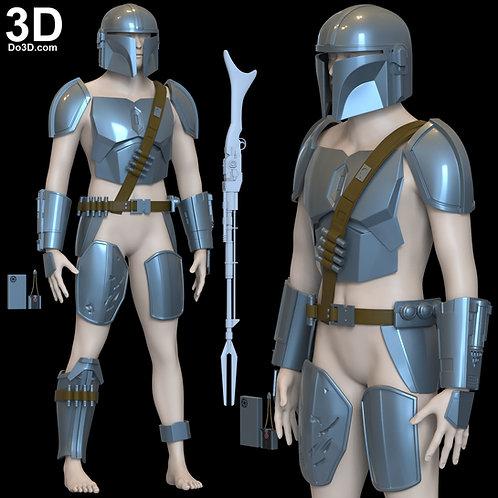 Mandalorian Beskar Steel Armor and Helmet Set | 3D Model Project #6270