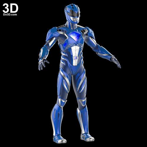 3D Printable Model: Blue Ranger 2017 Power Rangers Helmet + Full Armor STL #N04