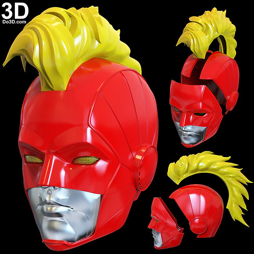 Captain Marvel Helmet + Mohawk Concept | 3D Printable Model #4547