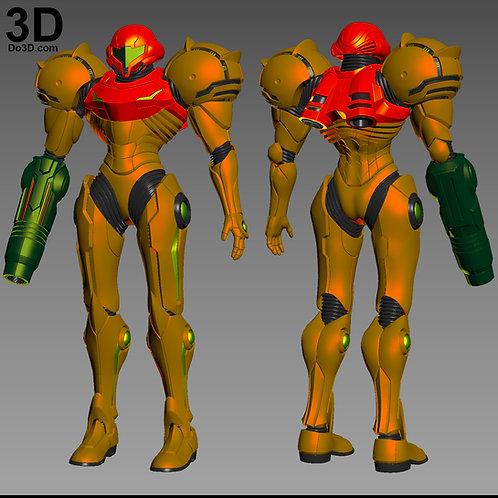 Samus Aran Full Body Armor + Helmet Metroid Varia Suit, 3D Printable Model #3081