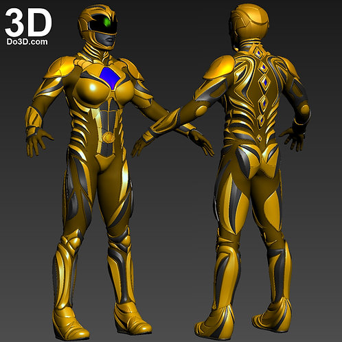 3D Printable Model: Yellow Ranger 2017 Power Rangers Helmet + Full Armor #2387