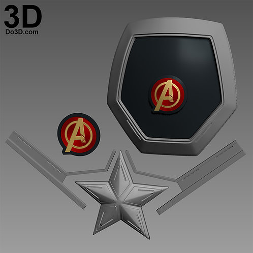 Captain America Shoulder Armor, Chest Star Avengers Emblem | 3D Project #640