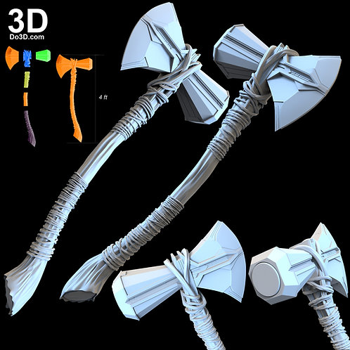 Thor Stormbreaker Axe Weapon with Curved Handle | 3D Model Project #4462