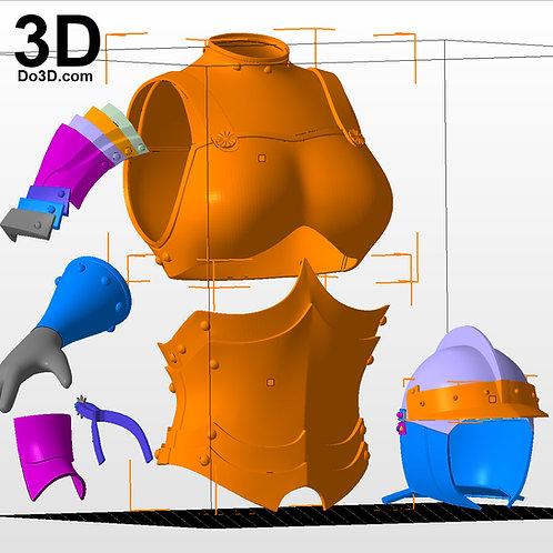 Casca Berserk Helmet and Full Body Armor + Staff | 3D Model Project #2327