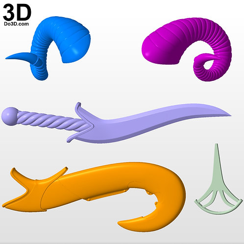 Jester Critical Role Horns, Sword, Case, Emblem   3D Model Project #4542