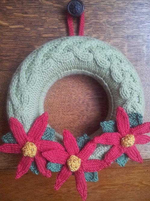 Poinsettia Christmas Wreath Knitting Kit