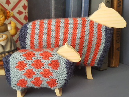 Spotty and Stripey Sheep Knitting Kit.  Choose your colour.