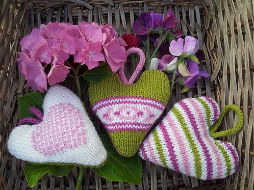 Three Pure Wool Hearts Knitting Pattern