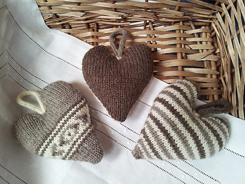 Three Pure Life Hearts Knitting Pattern