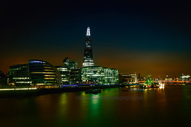 London's Shard at night