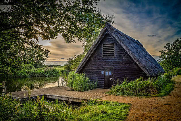 Thatched boathouse & quay. How Hill. Norfolk.