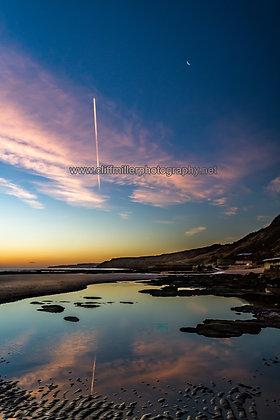 Moon flypast at dawn.