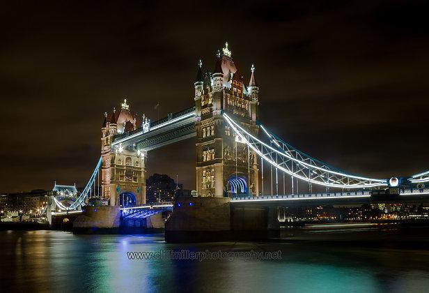 Tower Bridge at night.