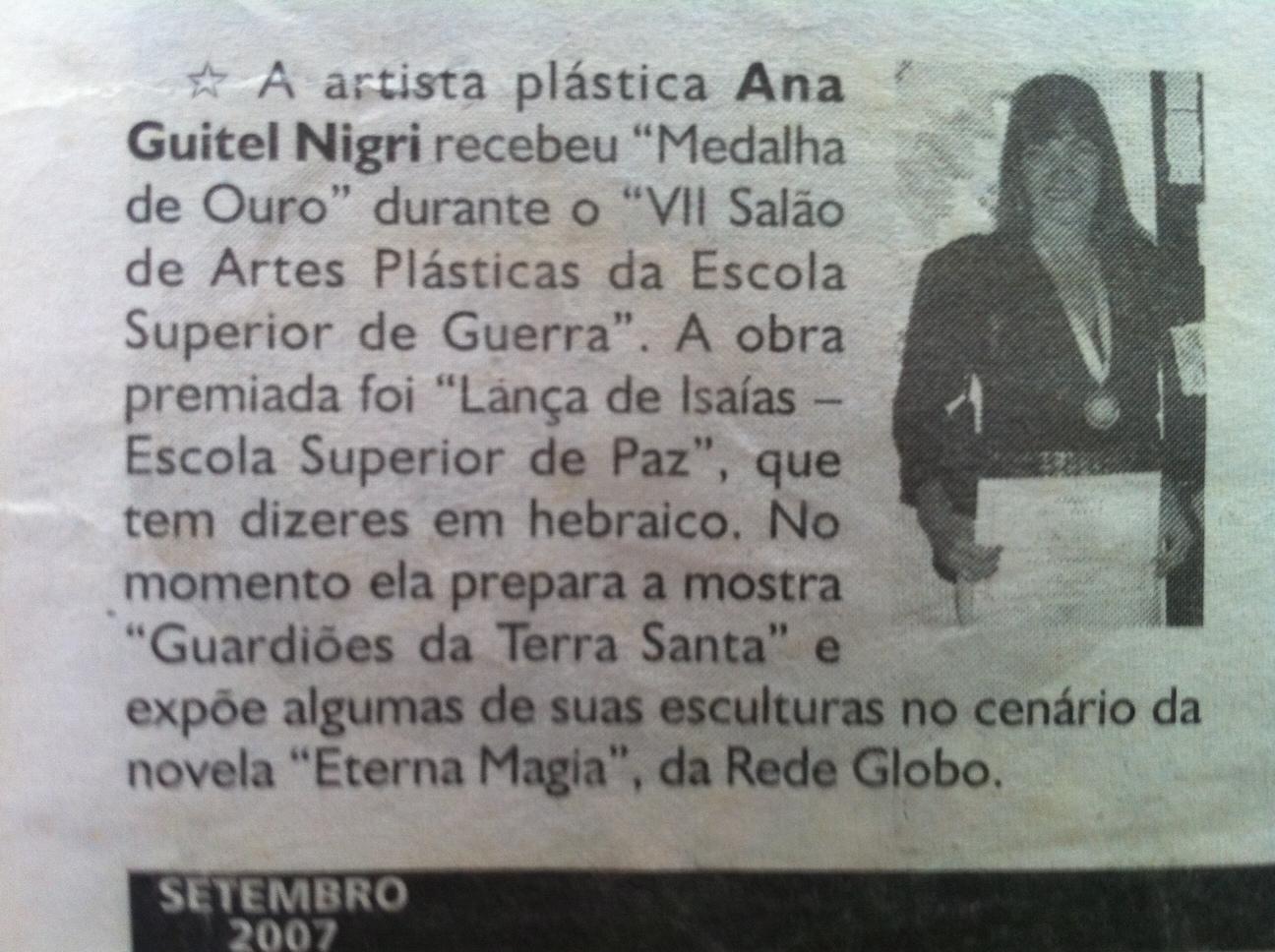 """newspaper """"Jornal Alef"""" 09/ 2007"""
