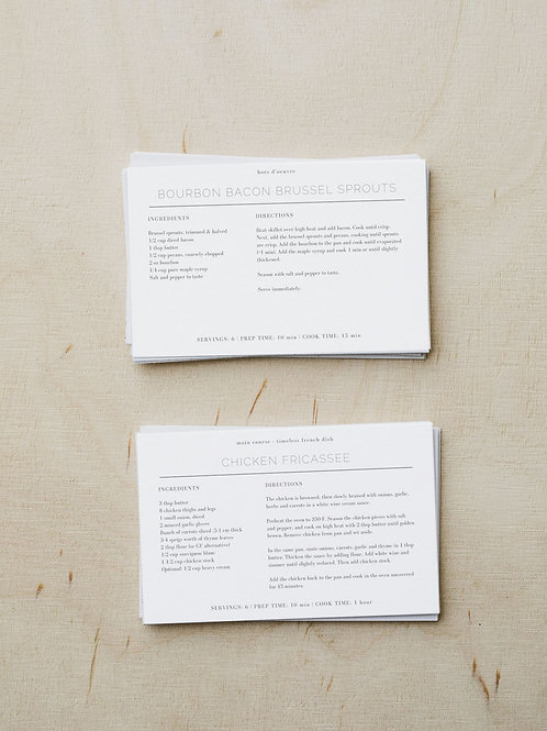 Classic Minimalist | 4x6 Customizable Recipe Cards