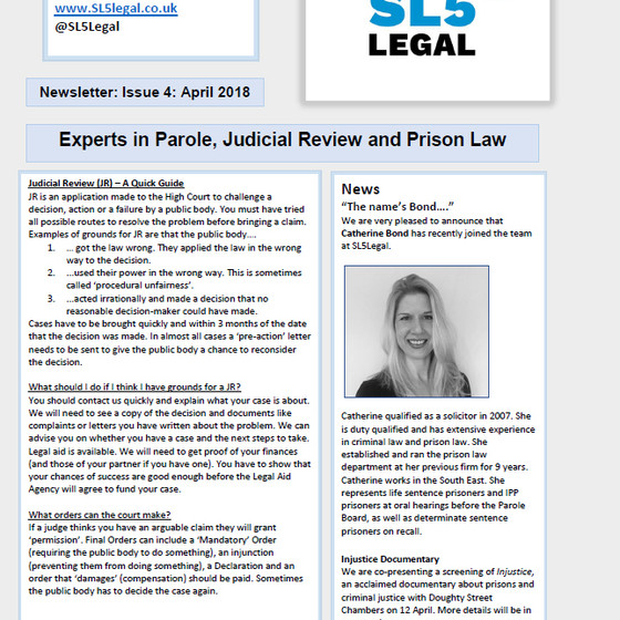SL5 Legal Newsletter - April 2018