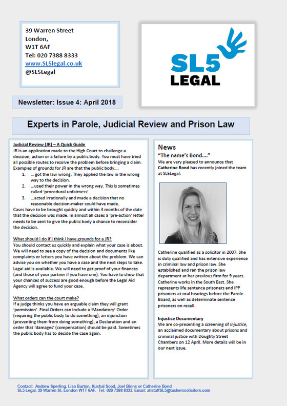 SL5 Legal Newsletter - April 2018