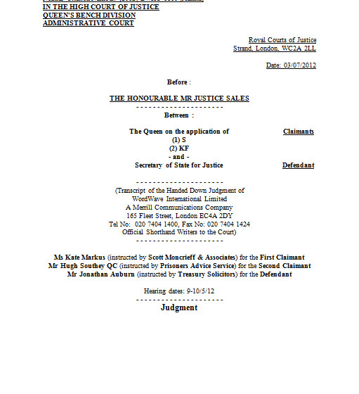 High Court: R (on the application of) S & KF (Prisoners Earnings Act) - [2012] EWHC 1810 (Admin
