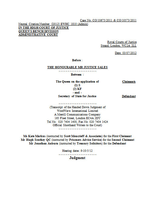High Court:  R (on the application of) S & KF (Prisoners Earnings Act)