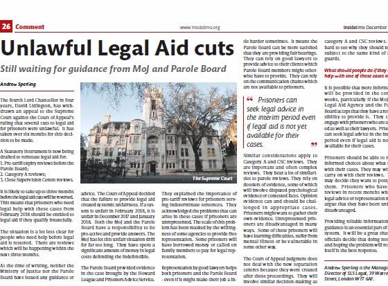 Unlawful Legal Aid cuts, Inside Time