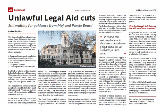 Unlawful Legal Aid cuts, Inside Time