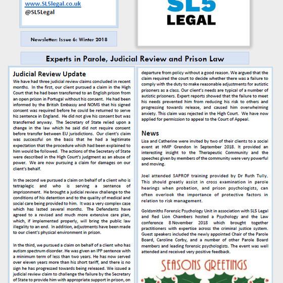 SL5 Legal Newsletter - Winter 2018