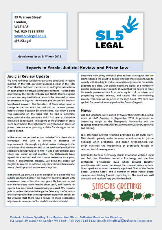 SL5 Legal Newsletter - Winter 2018