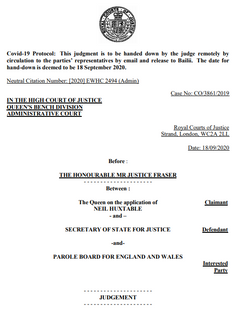PRESS STATEMENT: RECONSIDERATION OF PAROLE BOARD DECISIONS