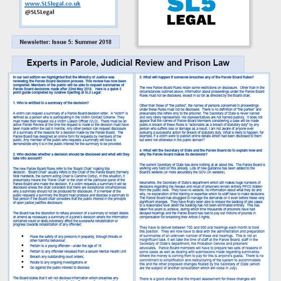 SL5 Legal Newsletter - Summer 2018