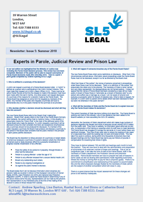 SL5 Legal Newsletter - Summer 2018