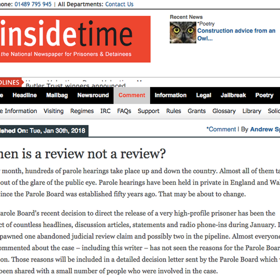 When is a review not a review? Inside Time
