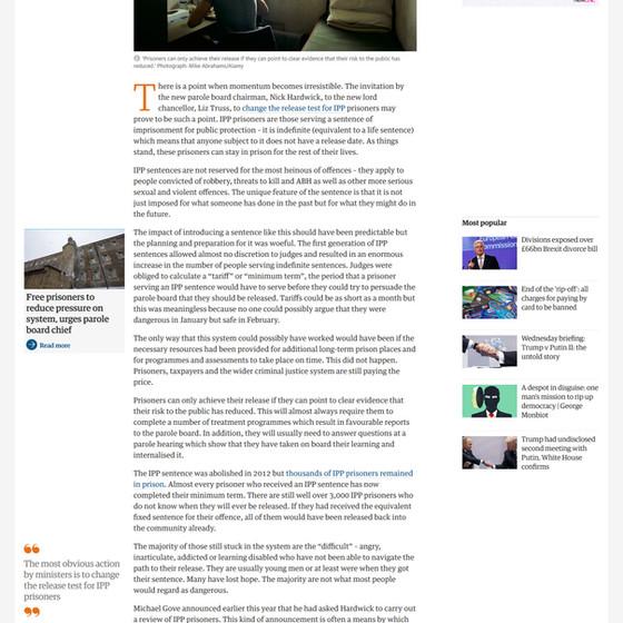 Liz Truss should be brave and release prisoners on indefinite sentences, The Guardian