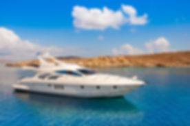 Yacht in the sea around the island on a