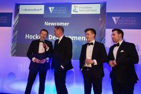 Hockley winning Newcomer Award