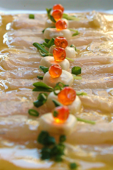Sashimi Ceviche with peruvian yellow pappe (ají amarillo)r