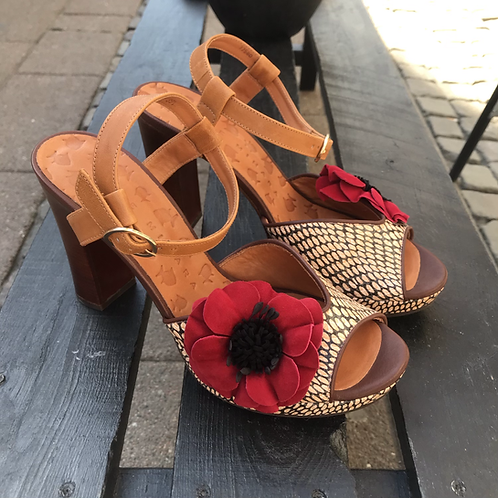 Chie Mihara sandal (brun/rød/sort)