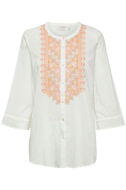 Cream skjorte (hvid m/broderi)