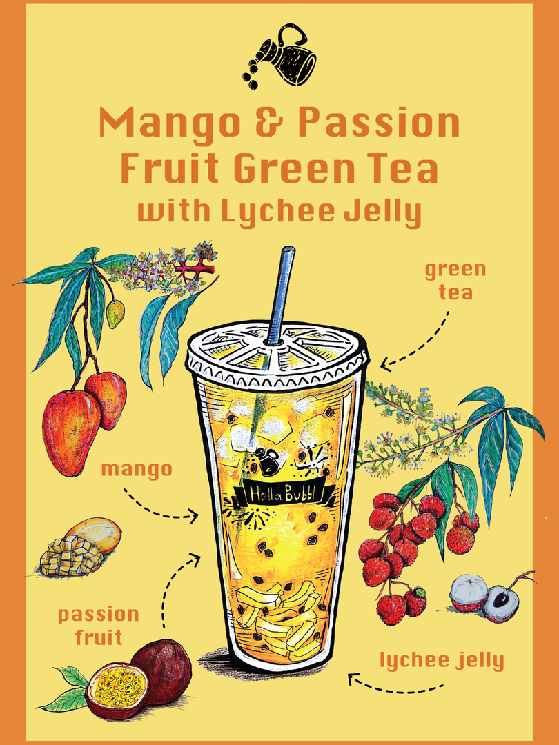 Mango & Passion Fruit Tea with Lychee Jelly