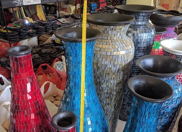 Bali Tall vase glass mosaic designs 3 x sizes 600mm to 1metre