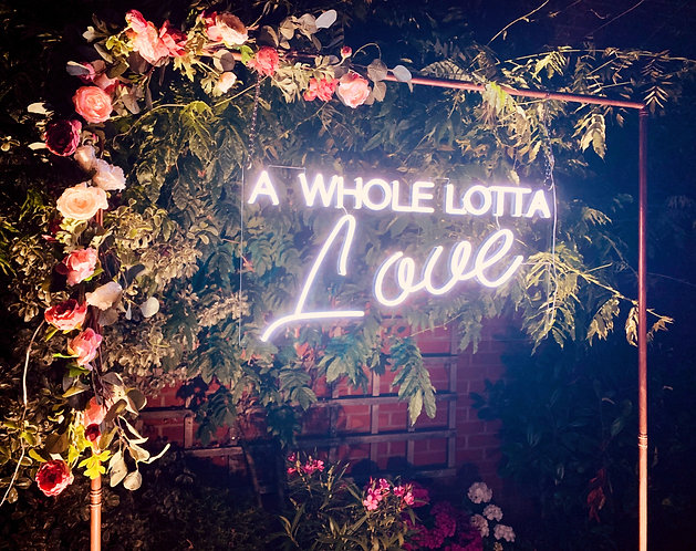 Neon Style Sign - 'A WHOLE LOTTA LOVE' with copper frame & optional floral edges