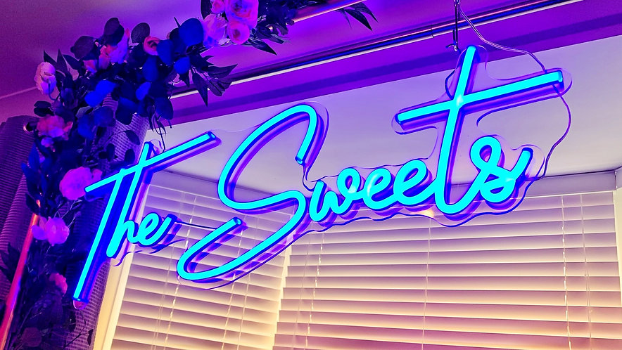 Neon Style Sign - 'CUSTOMISED' with copper frame & optional floral edges