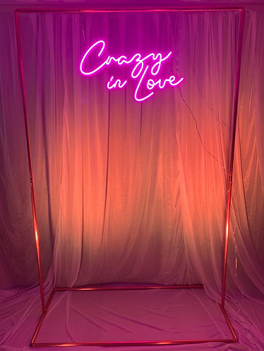 Neon Style Sign - 'CRAZY IN LOVE' + copper frame