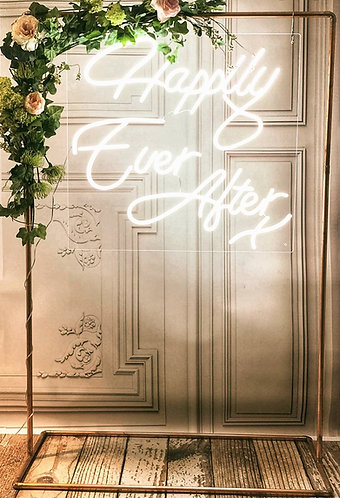 Neon Style Sign - 'Happily Ever After X' + copper frame & optional edges
