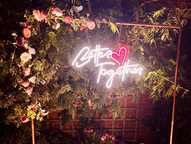 Neon Style Sign - 'BETTER TOGETHER' with copper frame & optional floral edges
