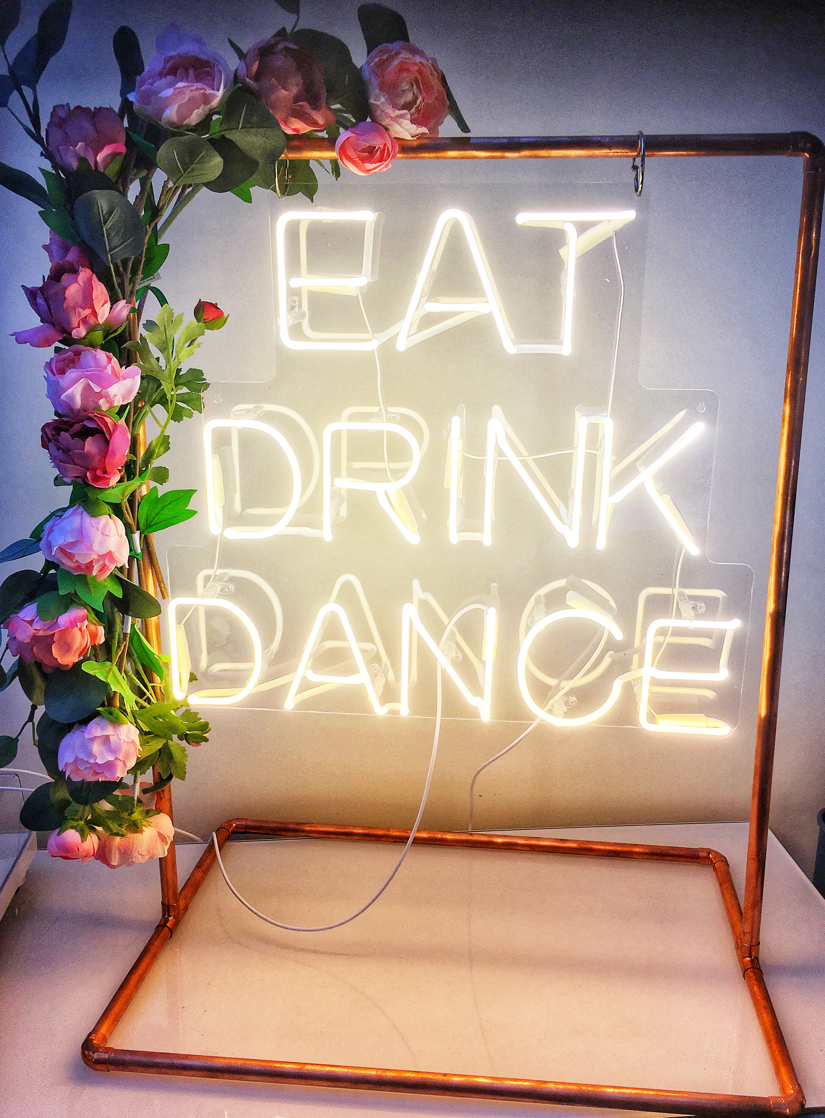 Brand New Table Top Neon EAT - DRINK - DANCE (with/without floral edge)