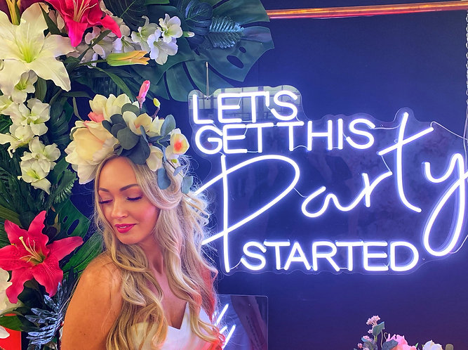 Neon Style Sign - 'LET'S GET THIS PARTY STARTED' + copper frame & optional edges