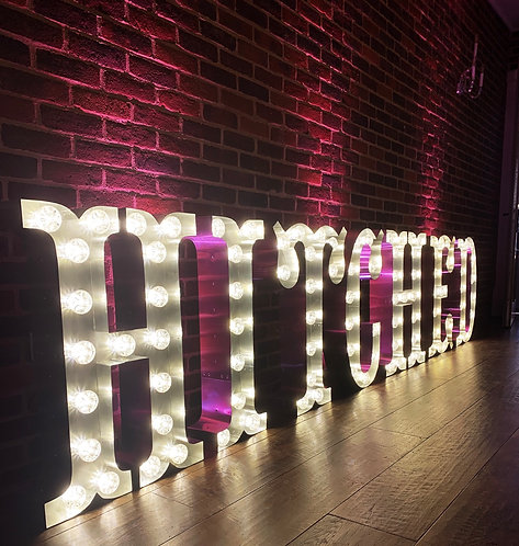 80cm Light Up 'HITCHED' Circus Marquee Letters
