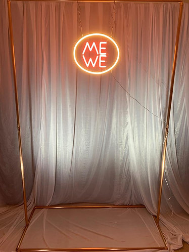 Neon Style Sign - 'ME WE' + copper frame