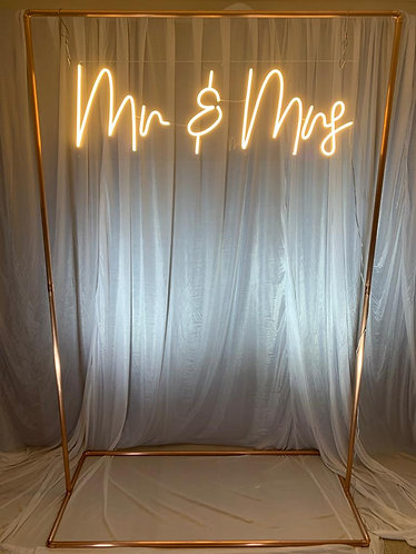 Neon Style Sign - 'Mr & Mrs' + copper frame