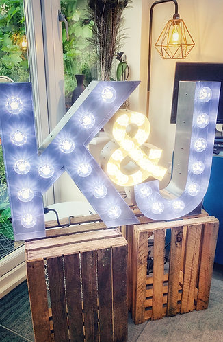'Initials' Letter lights + optional rustic (warm, cool or colour bulbs)